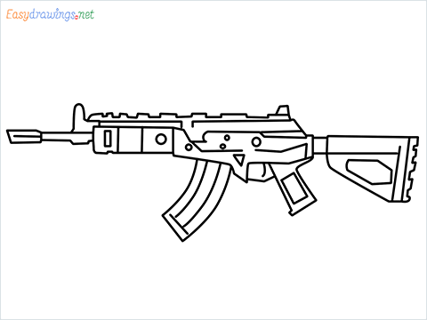 How to draw Cr 56 amax gun from Call of Duty step by step for beginners