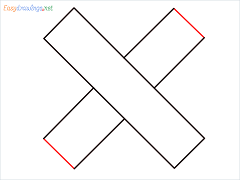 How to draw Cross shape step (4)