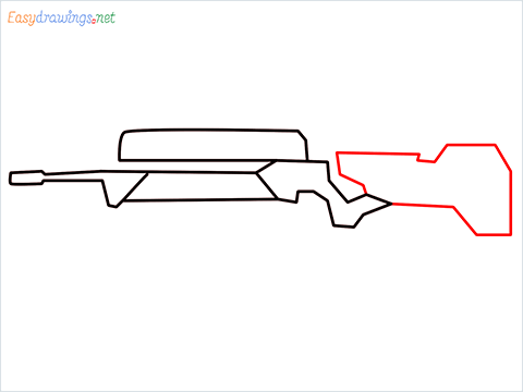 How to draw FAMAS Gun step (4)