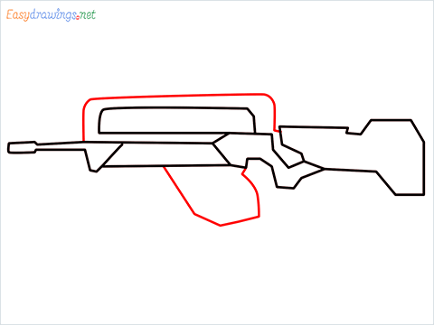 How to draw FAMAS Gun step (5)