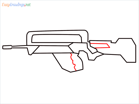 How to draw FAMAS Gun step (6)