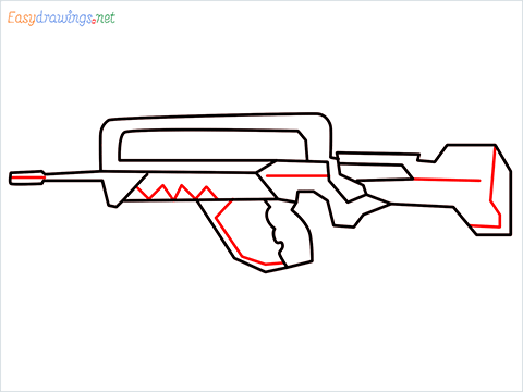 How to draw FAMAS Gun step (7)