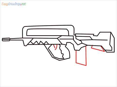 How to draw FAMAS Gun step (8)