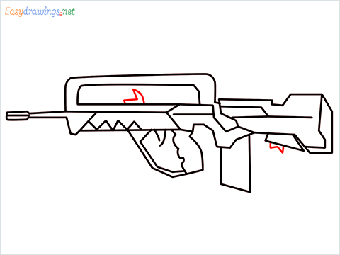 How to draw FAMAS Gun step (9)