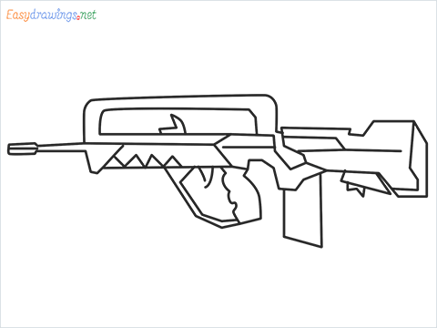 How to draw FAMAS Gun step by step for beginners