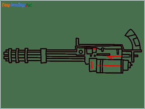 How to draw Gatling gun or Minigun step (10)