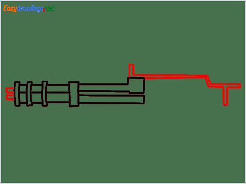 How to draw Gatling gun or Minigun step (4)