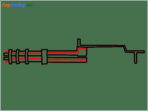 How to draw Gatling gun or Minigun step (5)