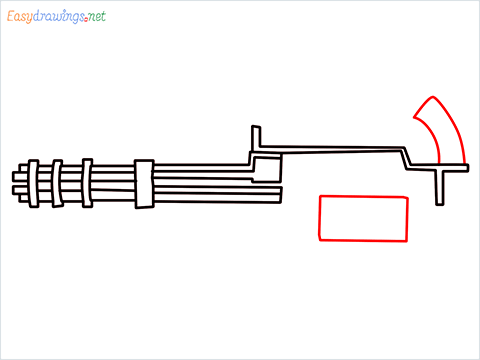 How to draw Gatling gun or Minigun step (6)