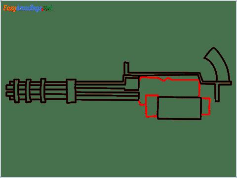 How to draw Gatling gun or Minigun step (7)