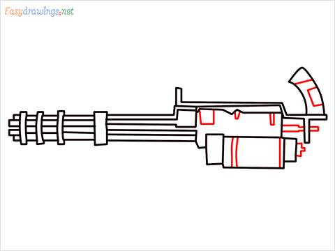 How to draw Gatling gun or Minigun step (8)