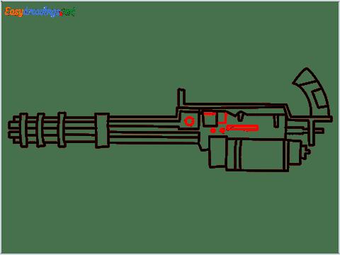 How to draw Gatling gun or Minigun step (9)