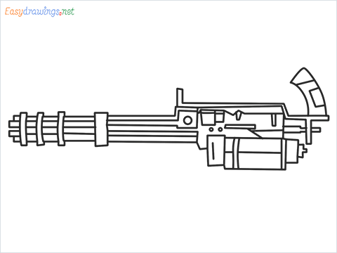 How to draw Gatling gun or Minigun step by step for beginners