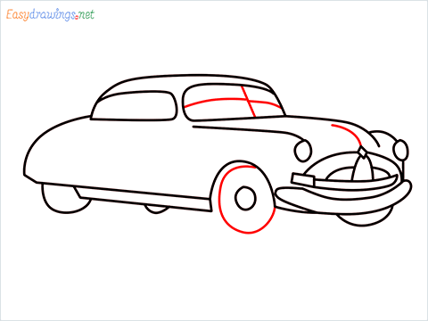 How to draw Hudson Hornet step (10)