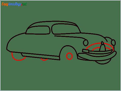 How to draw Hudson Hornet step (9)