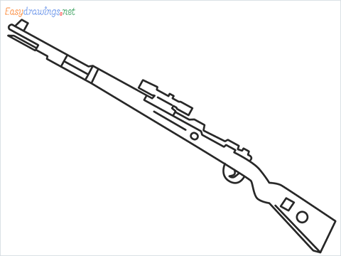 How to draw KAR98K sniper step by step for beginners