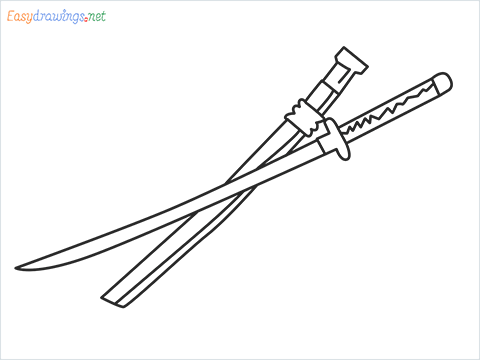How to draw KATANA step by step for beginners