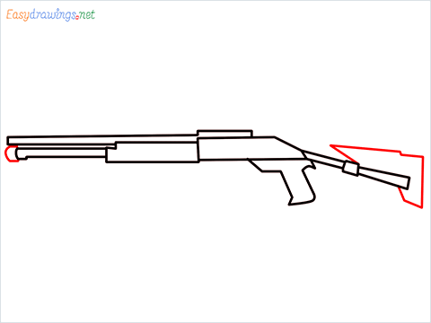 How to draw M1014 Gun step (6)