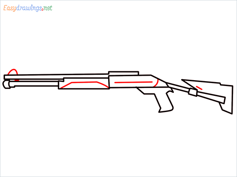 How to draw M1014 Gun step (7)