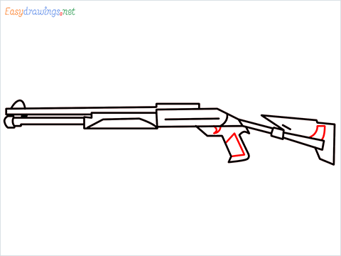 How to draw M1014 Gun step (8)