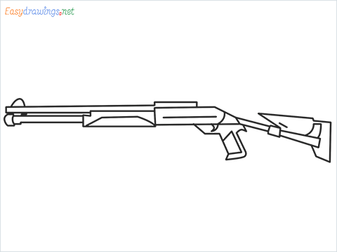 How to draw M1014 Gun step by step for beginners