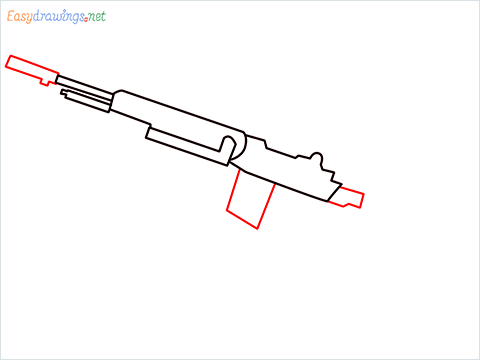 How to draw M14 Gun step (4)