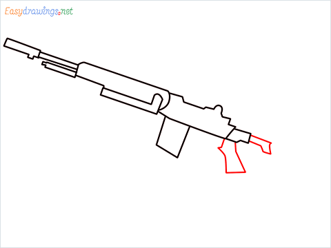 How to draw M14 Gun step (5)