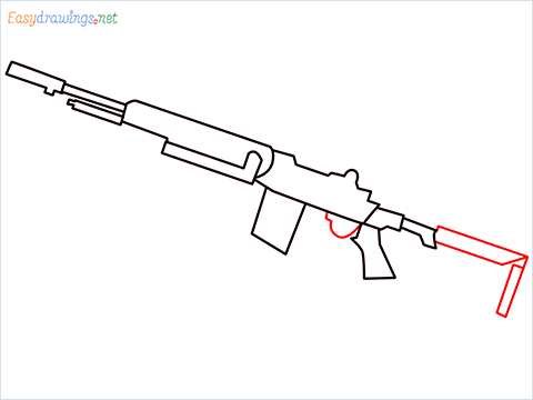How to draw M14 Gun step (6)