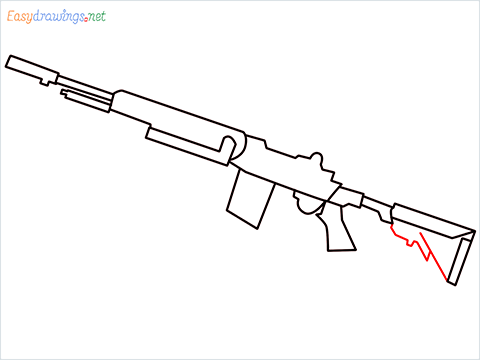 How to draw M14 Gun step (7)