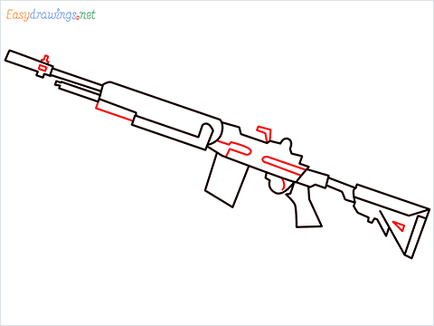 How to draw M14 Gun step (8)