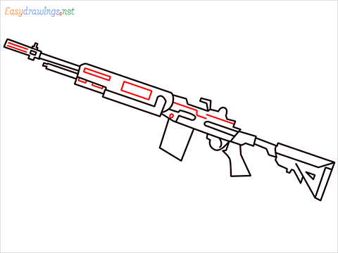 How to draw M14 Gun step (9)