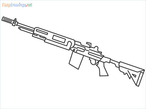 How to draw M14 Gun step by step for beginners