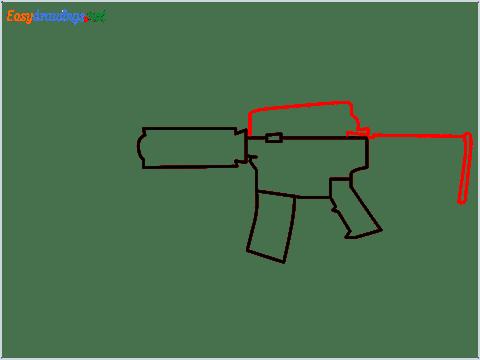 How to draw M4A1 Gun step (4)