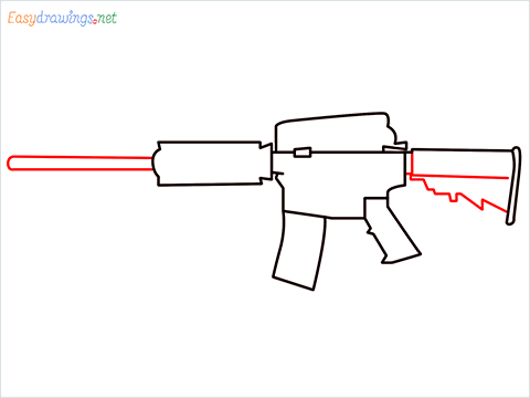 How to draw M4A1 Gun step (5)