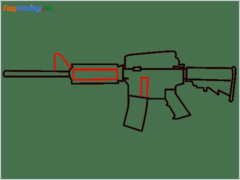 How to draw M4A1 Gun step (6)