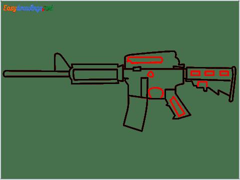 How to draw M4A1 Gun step (7)