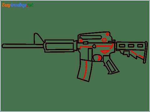 How to draw M4A1 Gun step (8)
