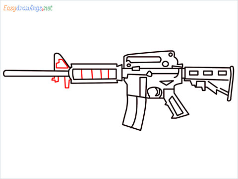 How to draw M4A1 Gun step (9)