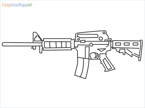 How to draw M4A1 Gun step by step for beginners