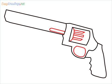 How to draw M500 Gun step (5)