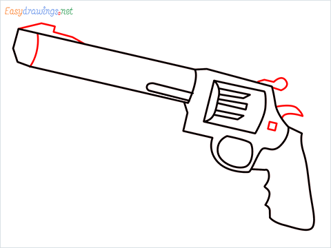 How to draw M500 Gun step (6)