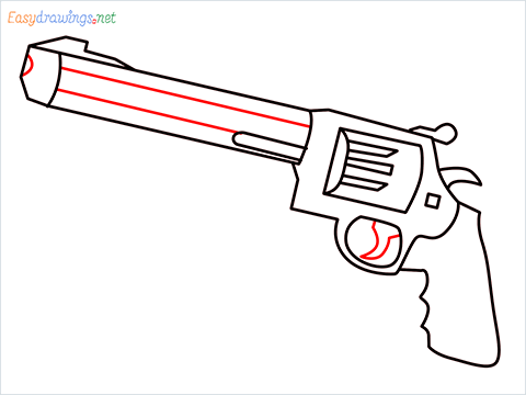 How to draw M500 Gun step (7)