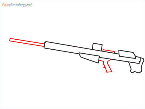How to draw M82B Gun step (4)