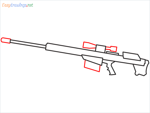 How to draw M82B Gun step (5)