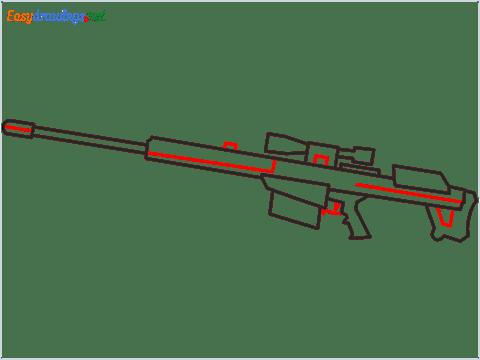 How to draw M82B Gun step (6)