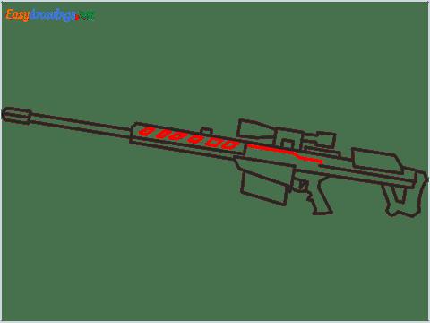 How to draw M82B Gun step (7)