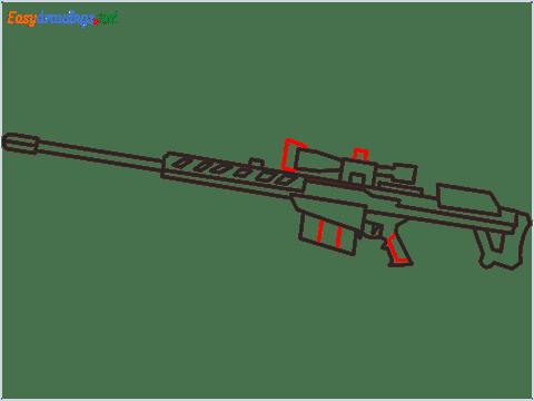 How to draw M82B Gun step (8)