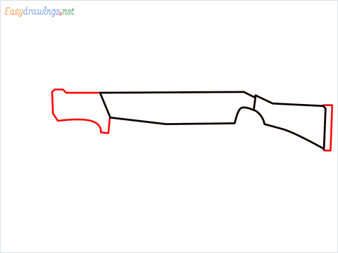 How to draw MAG-7 Gun step (3)
