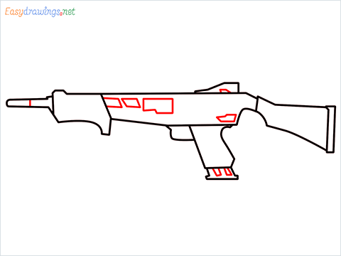 How to draw MAG-7 Gun step (6)
