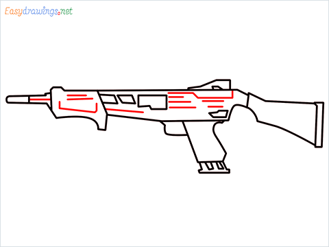 How to draw MAG-7 Gun step (7)